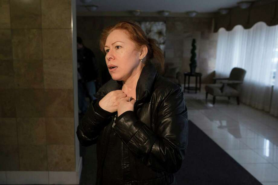 Maret Tsarnaeva, an aunt of the two suspects in the Boston Marathon bombing, speaks to journalists in the lobby of her apartment building in Toronto on Friday April 19, 2013.  Tamerlan Tsarnaev, a 26-year-old who had been known to the FBI as Suspect No. 1 and was seen in surveillance footage in a black baseball cap, was killed overnight, officials said. His brother, a 19-year-old college student who was dubbed Suspect No. 2 and was seen wearing a white, backward baseball cap in the images from Monday's deadly bombing at the marathon finish line, escaped. Photo: The Canadian Press, Chris Young