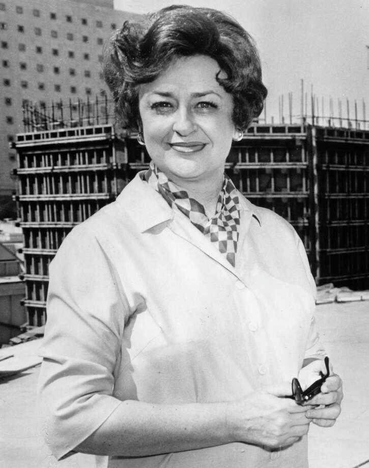 Alley Theatre founder Nina Vance, in front of construction site
