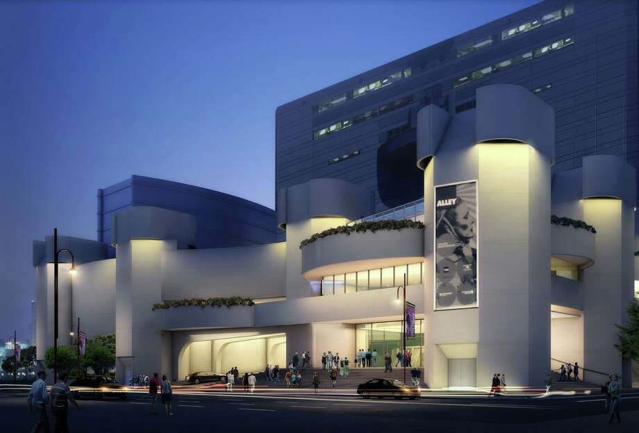An artist's rendering shows the exterior of the Alley Theatre. A number of interior and exterior renovations are planned.
