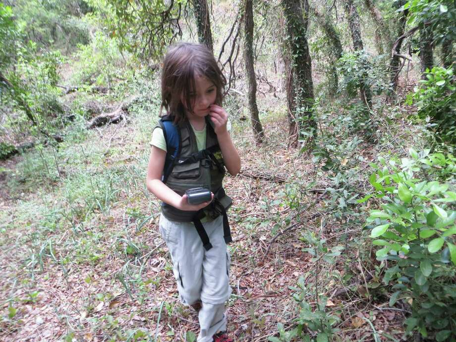 Nayely Stevens, 6, uses a hand-held GPS device to search for the location of the next geocache during her family's outing in Olmos Basin Park. Photo: Michelle Koidin Jaffee, Staff / © 2012 San Antonio Express-News