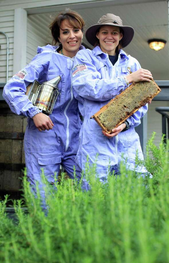 Dalia, left, and Jamie Zelko launched the Heights Honeybee Project after watching a documentary about the loss of honeybees. The couple now has 89 hives in Houston and Alvin. Photo: Karen Warren, Staff / © 2013 Houston Chronicle