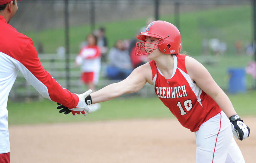 Erin Ferguson of Greenwich during the girls high school softball game between Greenwich High School