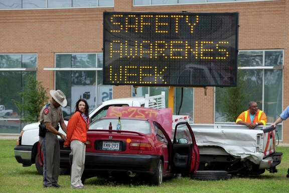 A work zone crash is staged earlier this week in Houston. In 2012, there were nearly 17,000 work zone crashes in Texas.