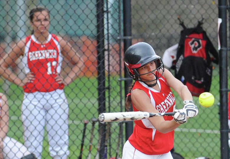 Jennifer Ambrogio of Greenwich hits during the girls high school softball game between Greenwich Hig