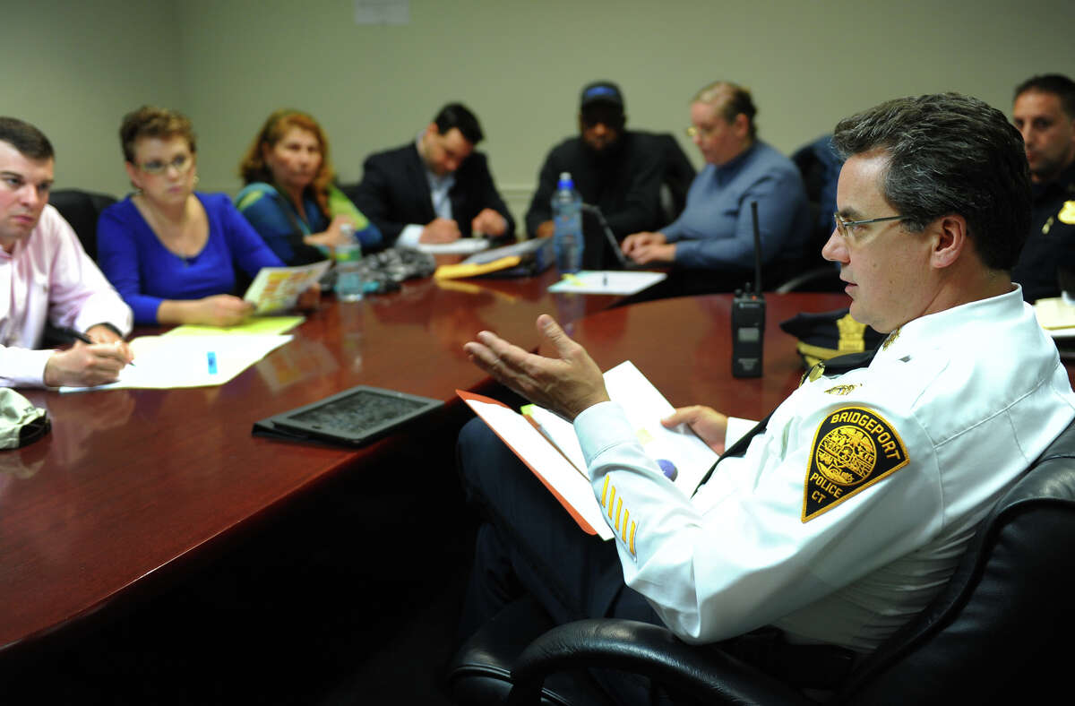 Bridgeport Police Chief Joseph Gaudet reports to the members on the City Council's Joint Committee on Public Safety and Transportation Ordinance about the issue of the curfew implemented in the city to curb violence, which was held at City Hall in Bridgeport, Conn. on Friday April 19, 2013.