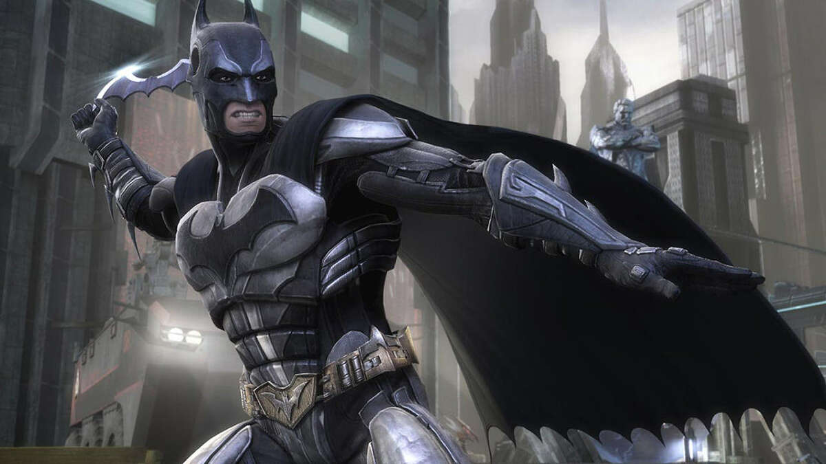 """""""Injustice: Gods Among Us"""" features 24 of DC's heroes and villains, including Batman, fighting it out in a """"Mortal Kombat"""" style fighting game. During the fights, each player utilizes different powers and gadgets."""