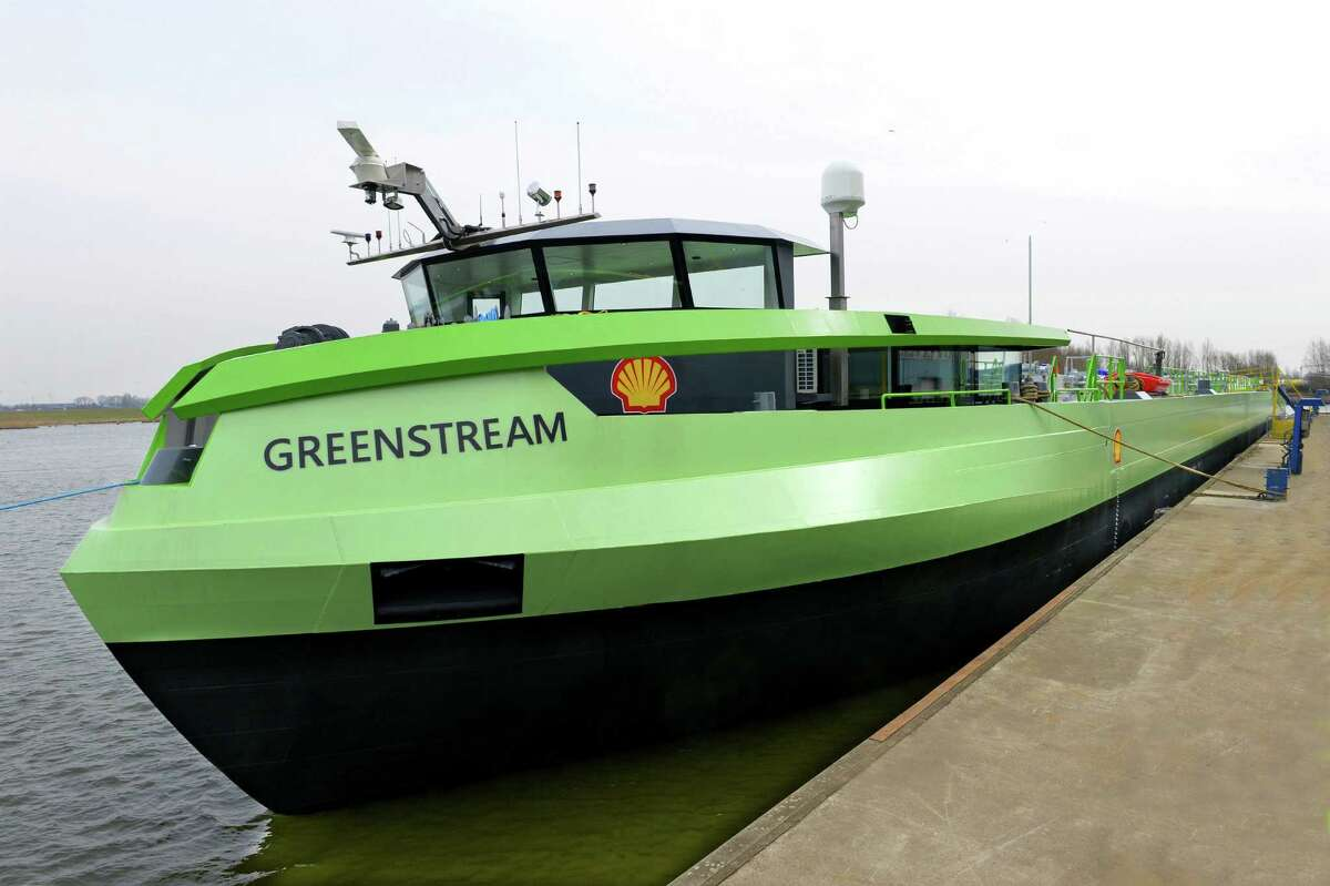 The Greenstream, the first barge powered entirely by liquefied natural gas, was built in the Netherlands and will be chartered by Royal Dutch Shell for use along the river Rhine.