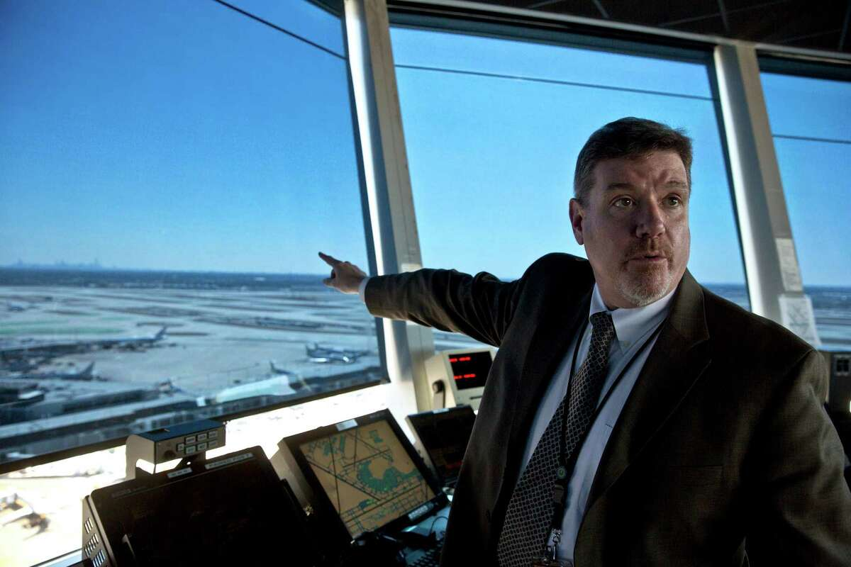 Robert Flynn, the air traffic control manager at O'Hare International Airport, at the airport in Chicago, March 21, 2013. The Federal Aviation Administration said Friday it would close 149 control towers at smaller airports because of the across-the-board federal budget cuts known as sequestration, but even an O'Hare International tower could be affected. (Nathan Weber/The New York Times)