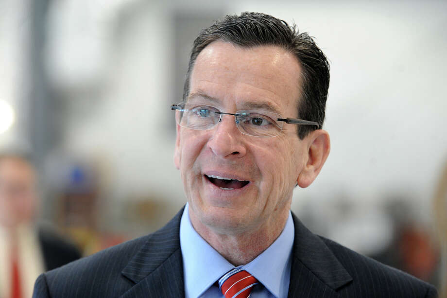 Gov. Dannel P. Malloy at a press conference at Sikorsky Memorial Airport in Stratford April 17. Photo: Ned Gerard / Connecticut Post