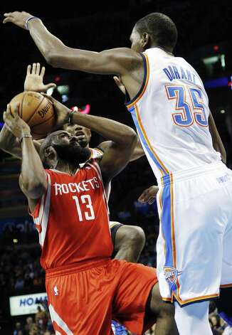 James Harden dominating the series is the only shot Houston has at chopping down Kevin Durant and the Thunder. Photo: Sue Ogrocki / Associated Press