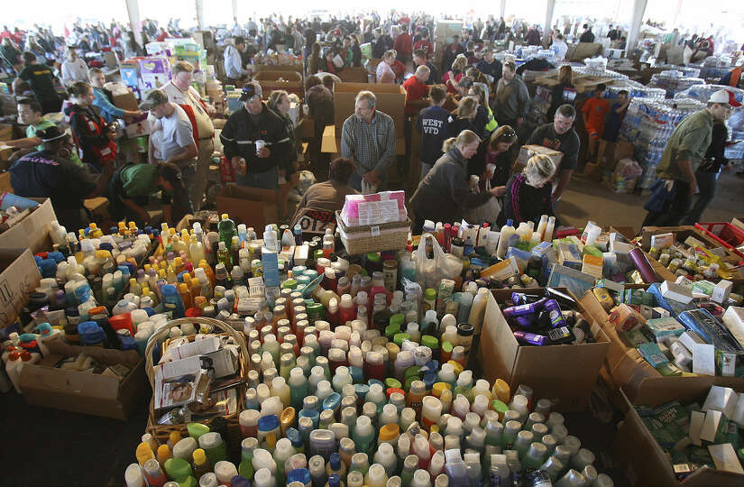 Donated goods are there for the taking at a distribution center for those affected by the blast in W