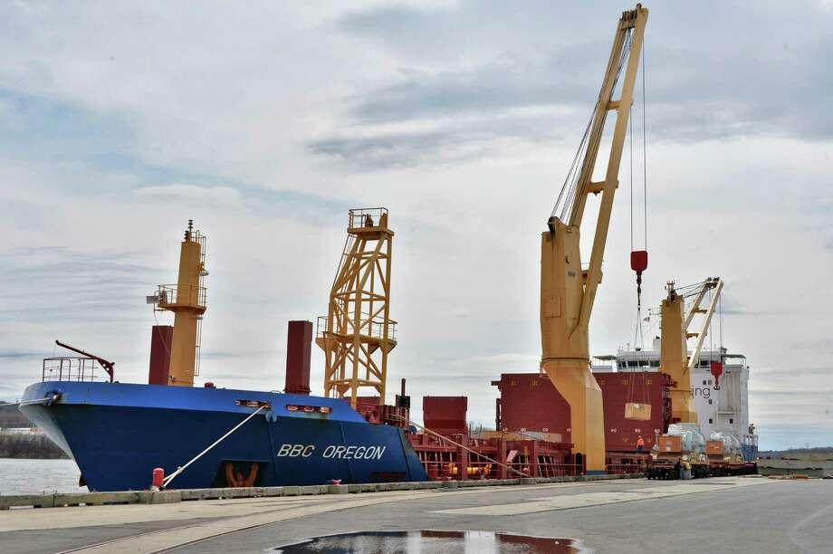 The BBC Oregon loads GE turbines at the Port of Albany in Albany, NY Thursday April 18, 2013.  (John Carl D'Annibale / Times Union) Photo: John Carl D'Annibale / 00022041A