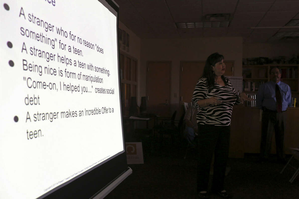 Nilda Castellanos and husband Saul Castellanos give a presentation at the Barshop Jewish Community Center on how sex traffickers use charm to lure young victims.
