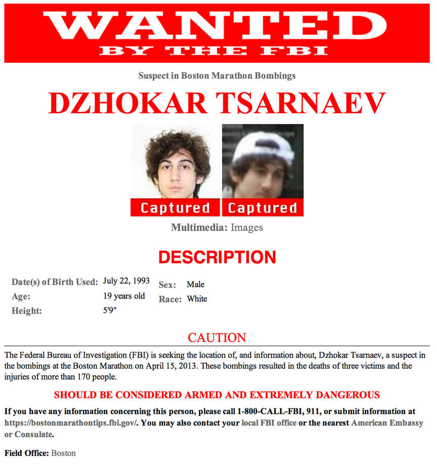 This updated wanted poster was released by the FBI Friday evening, April 19, 2013, showing Dzhokhar Tsarnaev, the suspect the FBI originally called suspect number 2 in the bombings at the Boston Marathon.  The 19-year-old Massachusetts college student wanted in the Boston Marathon bombing was captured hiding in a boat parked in a backyard Friday night. Photo: Associated Press / FBI