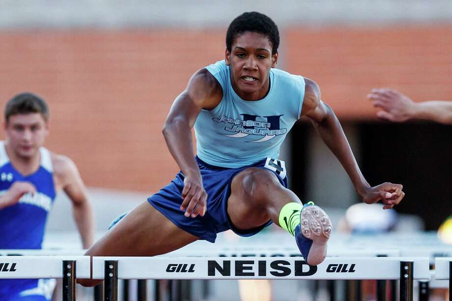 "Quinlan Wright helped the Johnson boys qualify for the Region IV-5A meet by winning the 110- and 300-meter hurdles Friday. ""That's what we've been working so hard for,"" Wright said. Photo: Marvin Pfeiffer / San Antonio Express-News"
