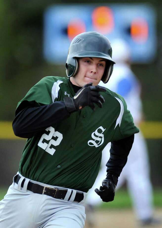 Shenendehowa's Nick Giunta (22) runs the bases during their baseball game against Shaker on Thursday, April 26, 2012, at Shaker High in Latham, N.Y. (Cindy Schultz / Times Union) Photo: Cindy Schultz / 00017395A