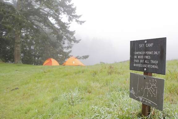Sky Camp's open site perched Inverness Ridge on misty day -- other sites at Sky Camp are more secluded.