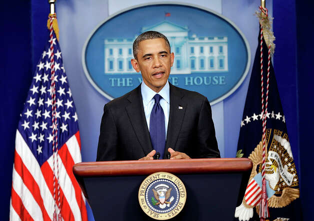 WASHINGTON, DC - APRIL 19:  U.S. President Barack Obama speaks from the White House about the capture of Dzhokhar A. Tsarnaev on April 19, 2013 in Washington, DC. A manhunt for a suspect in the Boston Marathon bombing, Dzhokhar A. Tsarnaev, 19, ended this evening with his capture on a boat parked on a residential property in Watertown, Massachusetts. His brother Tamerlan Tsarnaev, 26, the other suspect, was shot and killed by police early this morning after a car chase and shootout with police. The two men are suspects in the bombings at the Boston Marathon on April 15 that killed three people and wounded at least 170.  (Photo by Win McNamee/Getty Images) Photo: Win McNamee, Wire / 2013 Getty Images