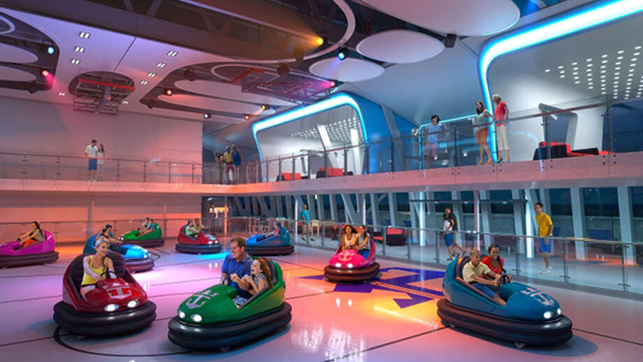 Quantum of the Seas\' SeaPlex features the first-ever bumper-car attraction on a cruise ship.