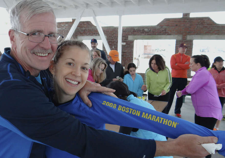 Alan Peterson and daughter Megan, of Fairfield, veterans of the Boston Marathon participated Saturday in the Westport Joggers Club fundraiser run for marathon bombing victims.  WESTPORT NEWS, CT 4/20/13 Photo: Mike Lauterborn / Westport News contributed