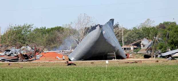 The scene of an explosion at a fertilizer plant, Saturday April 20, 2013, that occurred Wednesday evening in West, Tx. Photo: Edward A. Ornelas, San Antonio Express-News / © 2013 San Antonio Express-News