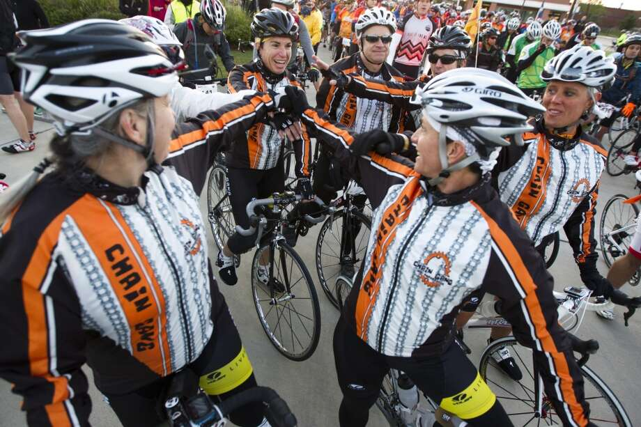 Cyclists with Team Chain Gang prepare to begin their journey from Tully stadium, one of three starting points, to Austin during the BP MS 150 on Saturday, April 20, 2013, in Houston.