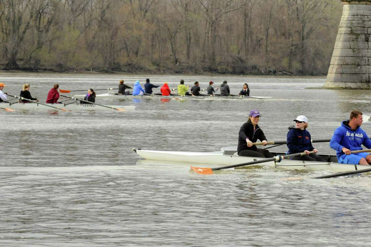 Beginning rowers take to the Hudson River during the Albany Rowing Center's Learn To Row Day on Saturday April 20, 2013 in Albany, N.Y. The event continues Sunday April 21, 2013 ? anytime between 9:00 am and 1:00 on - drop in participants.(Michael P. Farrell/Times Union)
