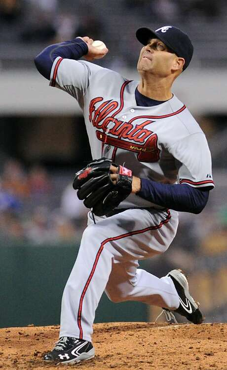 Atlanta Braves pitcher Tim Hudson started in Oakland. Photo: John Heller, Associated Press