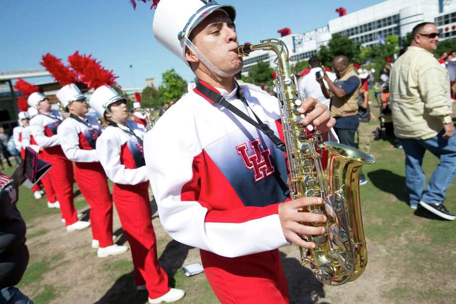 The University of Houston's Spirit of Houston Marching Band plays April 20, 2013 in Houston at Discovery Green. The University of Houston's Spirit of Houston Marching Band played a four-hour performance. Photo: Eric Kayne, For The Chronicle / © 2013 Eric Kayne