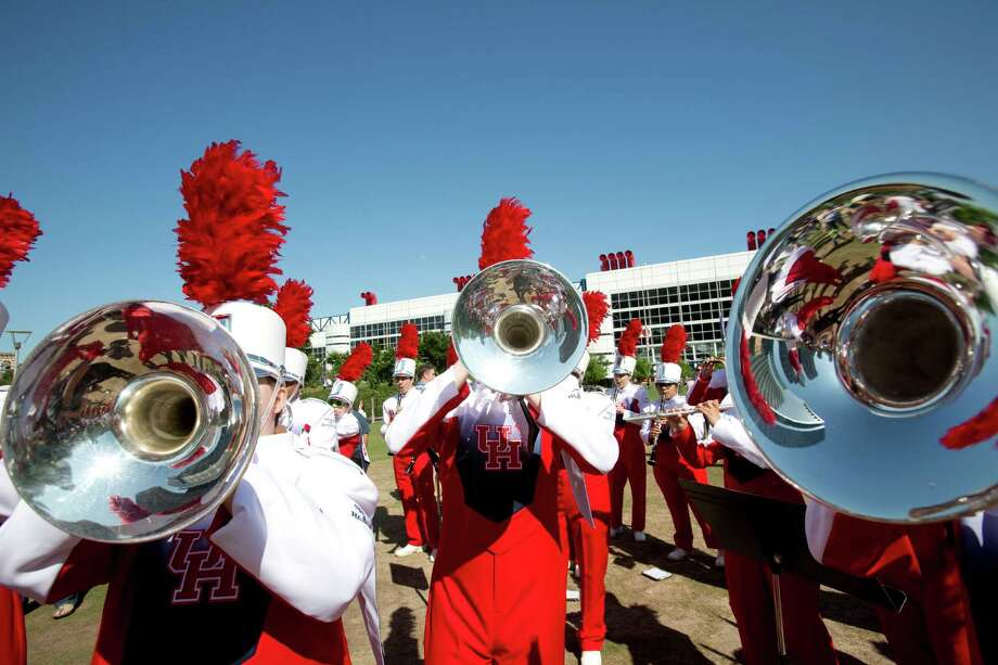 "The University of Houston's Spirit of Houston Marching Band plays April 20, 2013 in Houston at Discovery Green. . They performed a work titled ""En Masse"" by composer Daniel Bernard Roumain, who is doing a two-year residency at UH's Mitchell Center for the Arts. Photo: Eric Kayne, For The Chronicle / © 2013 Eric Kayne"