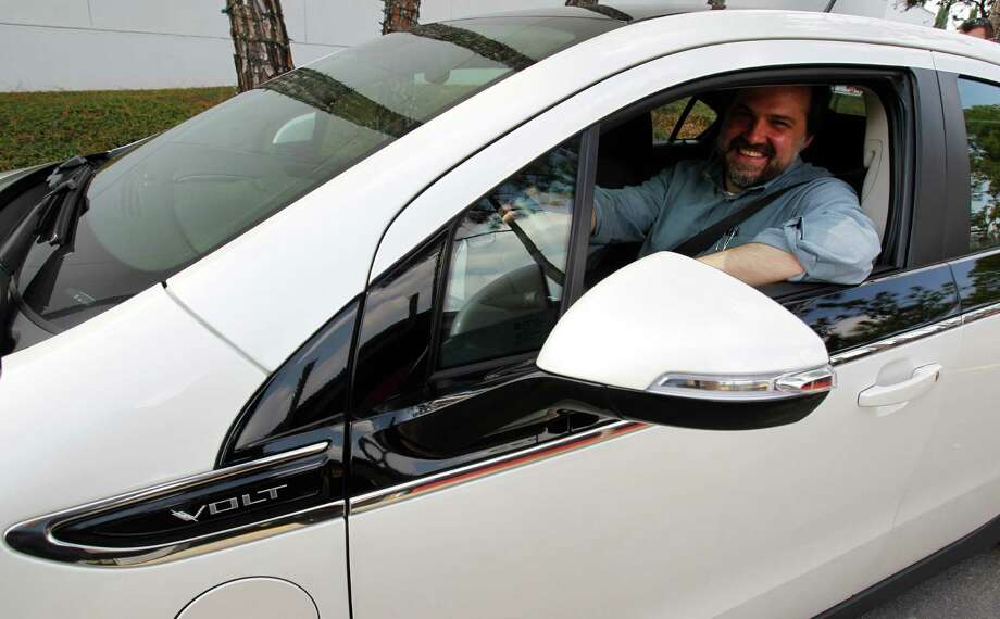 Houston Chronicle writer Loren Steffy during a test drive of the Chevy Volt Monday, Oct. 25, 2010, in Houston. Photo: Melissa Phillip, Houston Chronicle / Houston Chronicle