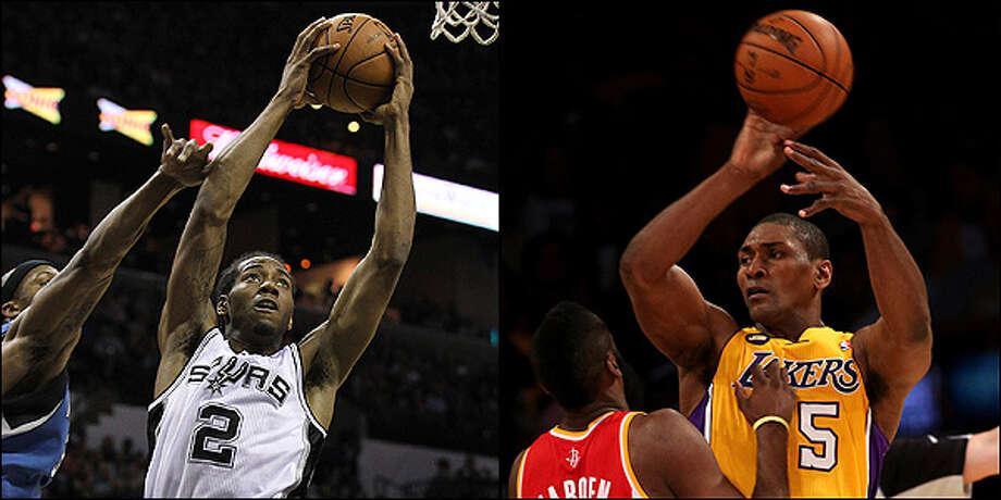 Small forward: Spurs' Kawhi Leonard vs. Lakers' Metta World Peace. / © 2012 San Antonio Express-News