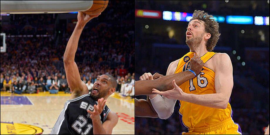 Power forward: Spurs' Tim Duncan vs. Lakers' Pau Gasol.