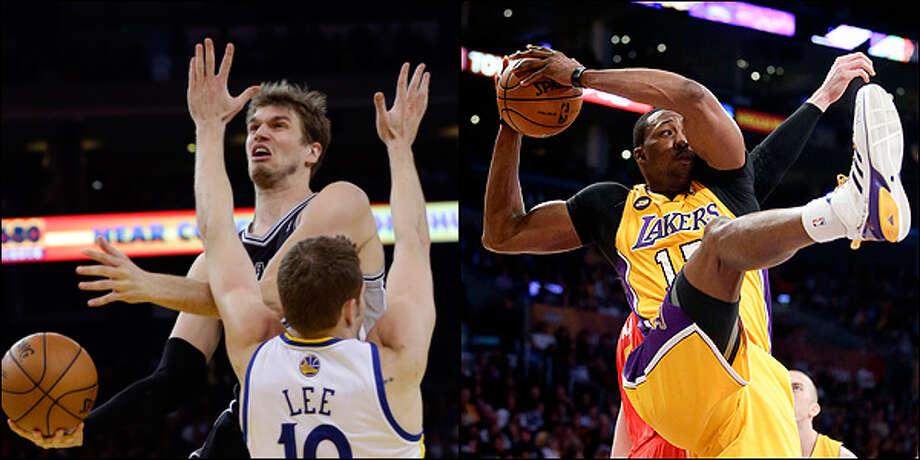 Center: Spurs' Tiago Splitter vs. Lakers' Dwight Howard.