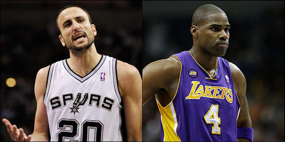 Bench: Spurs' Manu Ginobili vs. Lakers' Antawn Jamison.