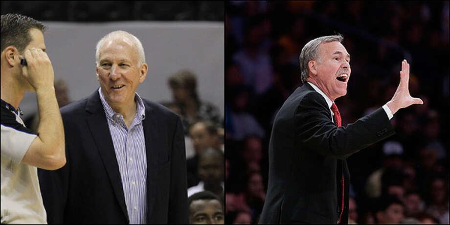 Coach: Spurs' Gregg Popovich vs. Lakers' Mike D'Antoni. / © 2012 San Antonio Express-News