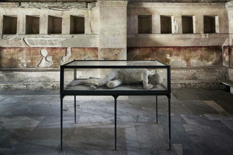 The plaster cast of a body in the Stabian Baths in Pompeii, Italy, the ancient city in the shadow of Mt. Vesuvius, whose disrepair has experts worried. Photo: Gianni Cipriano / New York Times