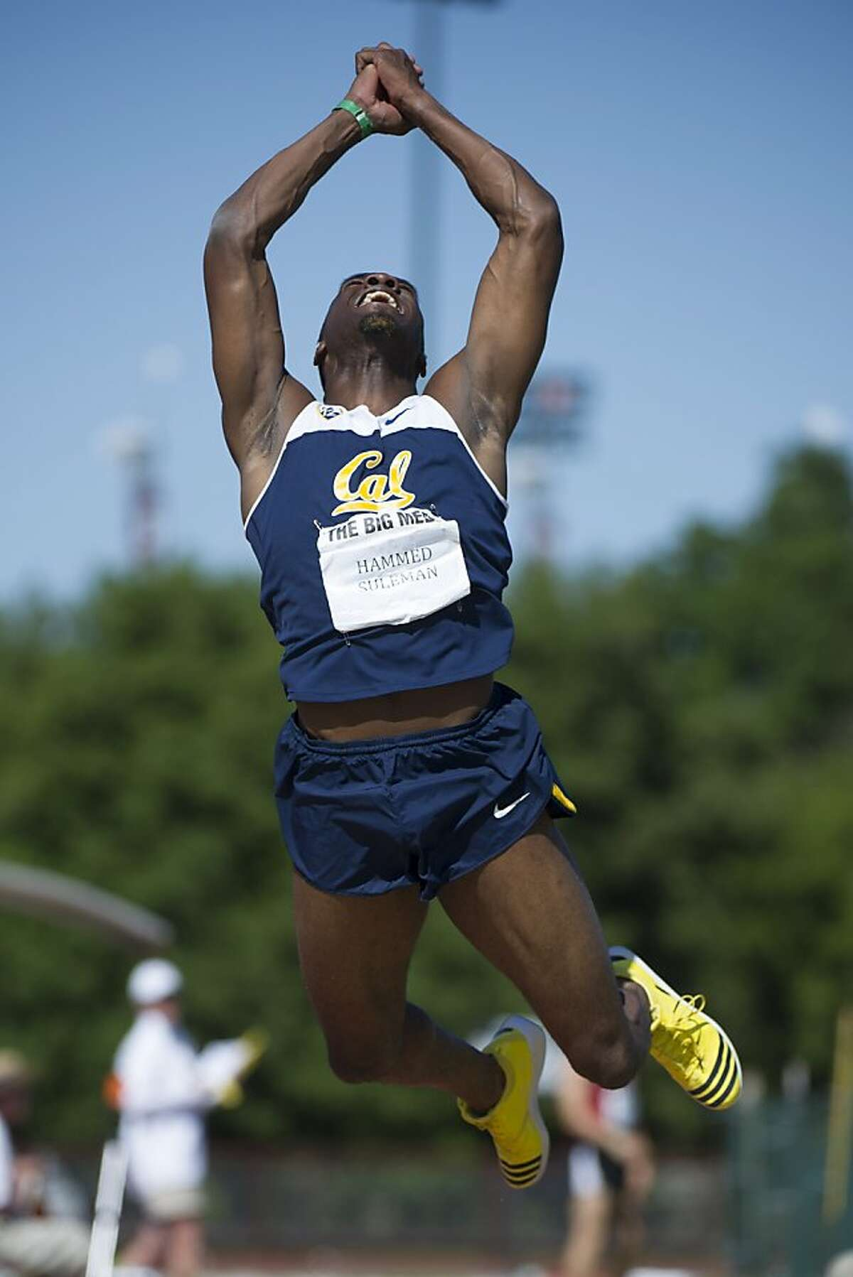 Hammed Suleman of Cal competes in the Men's triple jump during the 118th Big Meet Cal vs Stanford at Stanford University in Stanford, Calif. on April 20,2013.