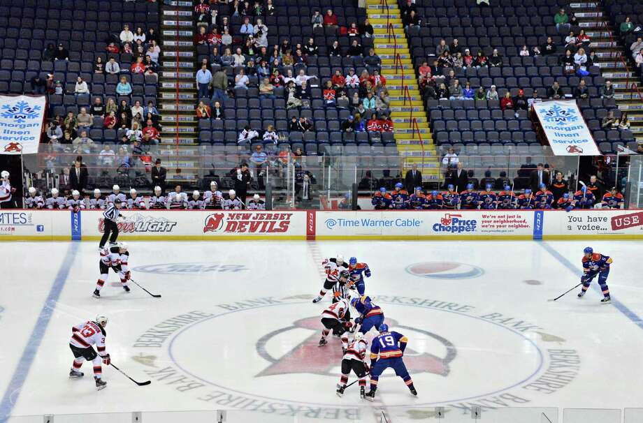 Start of Saturday's Albany Devils game against the Norfolk Admirals at the Times Union Center in Albany, NY, April 20, 2013.   (John Carl D'Annibale / Times Union) Photo: John Carl D'Annibale / 00021748I