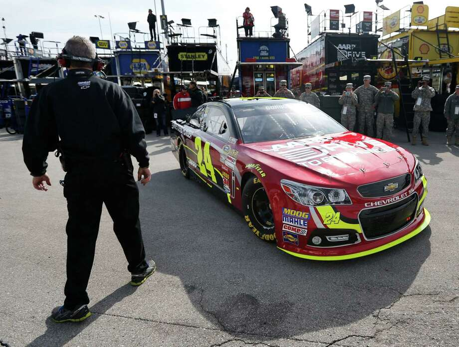 Driver Jeff Gordon pulls out of the garage during practice for the NASCAR Sprint Cup series STP 400 auto race at Kansas Speedway in Kansas City, Kan., Saturday, April 20, 2013. (AP Photo/Orlin Wagner) Photo: Orlin Wagner