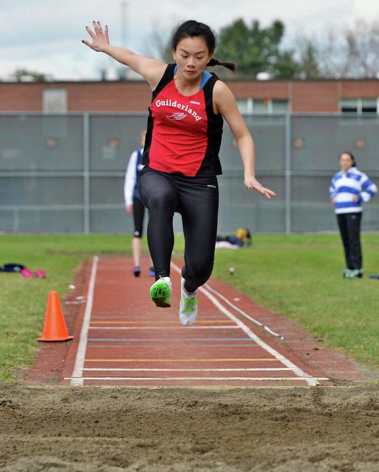 Guilderland's Katie Yang in the triple jump during the Lady Eagle Invitational outdoor track meet at Bethlehem High School in Delmar, N.Y. Saturday April 20, 2013.   (John Carl D'Annibale / Times Union) Photo: John Carl D'Annibale / 00022023A