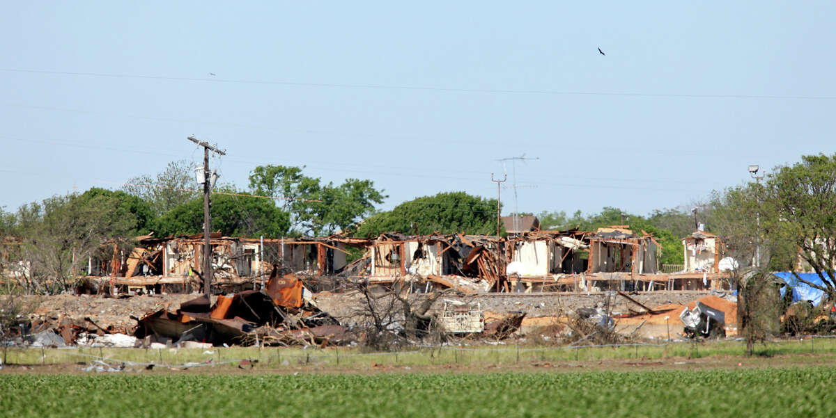The huge explosion at the West Fertilizer Co. on Wednesday left this structure and many others in the area shattered.