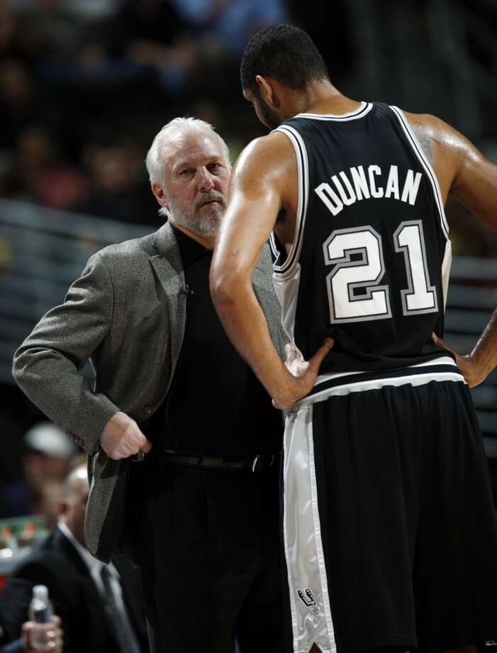 San Antonio Spurs head coach Gregg Popovich, left, confers with center Tim Duncan during a break in the first quarter while facing the Denver Nuggets in an NBA basketball game in Denver on Thursday, Dec. 4, 2008. (AP Photo/David Zalubowski)