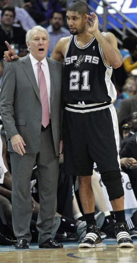 Spurs coach Gregg Popovich talks with center Tim Duncan during a break in the action against the New Orleans Hornets in the second half of an NBA basketball game in New Orleans, Monday, Jan. 18, 2010. The Spurs defeated the Hornets 97-90. (AP Photo/Bill Haber)