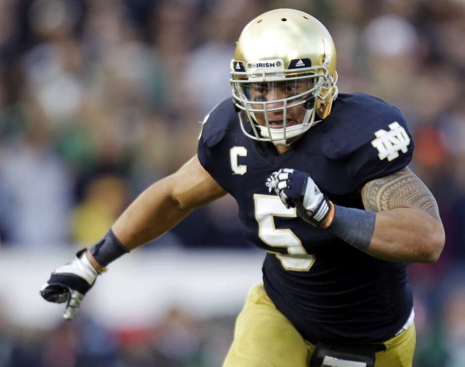 Manti Te'o, ILB, 6-1, 241, 4.78, Notre Dame  Scouts are more concerned about his poor play against Alabama than his imaginary girlfriend. He also ran slow 40 times at the combine and at his pro day. He could have trouble dropping into coverage. He might be best suited to play the weak side in a 3-4. He's an instinctive player who'll take on blockers and runners. Should go in the bottom half of the first round.