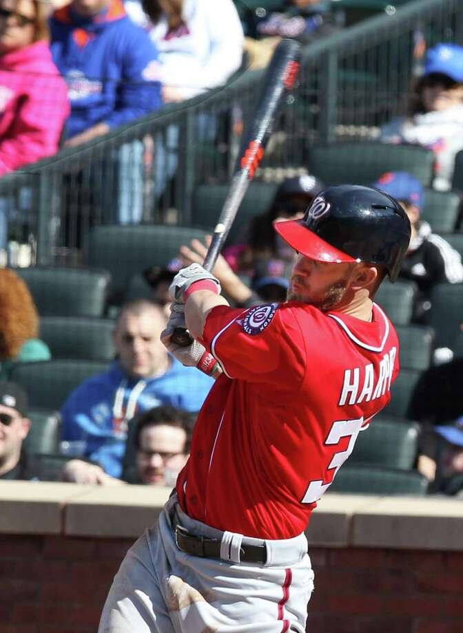 Washington Nationals' Bryce Harper hits a two-run home run in the third inning of a baseball game against the New York Mets in New York on Saturday, April 20, 2013. Harper hit two home runs in their 7-6 win. (AP Photo/Peter Morgan) Photo: Peter Morgan