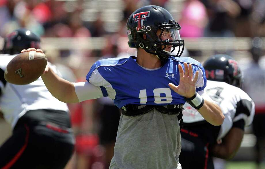 Michael Brewer was 26 of 43 passing for 282 yards and two TDs in Saturday's spring game, appearing more confident than Davis Webb, Tech's other QB. Photo: Stephen Spillman / Lubbock Avalanche-Journal