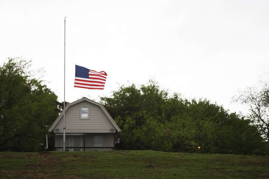 A flag is at half mast after the explosion at a West, Texas fertilizer plant. Photo: Johnny Hanson