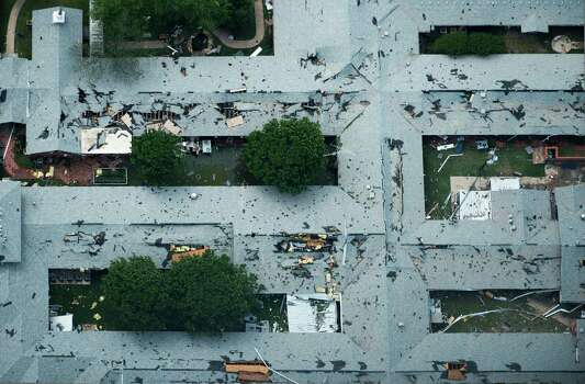 A nursing home damaged from the explosion of the West Fertilizer plant is seen in an aerial view on Thursday, April 18, 2013, in West, Texas.  Photo: Smiley N. Pool, Houston Chronicle / © 2013  Houston Chronicle
