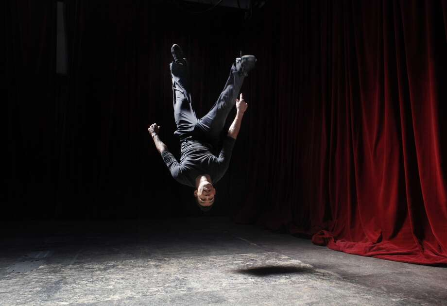 Utilizing his talent for sign language interpretation and acrobatics, Brandon Kazen-Maddox, 24, shows off a performance concept he calls American Sign Language Acrobatic Dace, or ASLAD for short,  at Inner Mission (formerly Cell Space) in San Francisco.